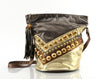 Metallic Leather Studded Bucket Bag