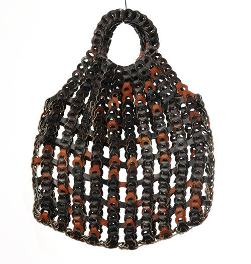 70s Large Chain-Linked Leather Bag