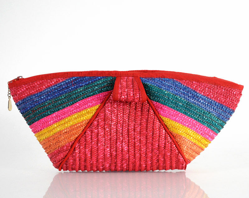 Huge Rainbow Woven Straw Clutch