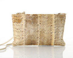 Cream-colored Snakeskin Leather Clutch