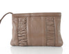 Ruched Brown Leather Clutch
