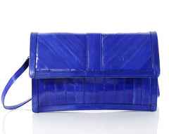 Electric Blue Eel Skin Clutch