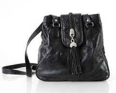 Leather Braided Tassel Bucket Bag