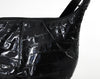 80s Black Eel Skin Hobo Bag