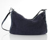 HALSTON Leather + Knit Slouchy Shoulder Bag