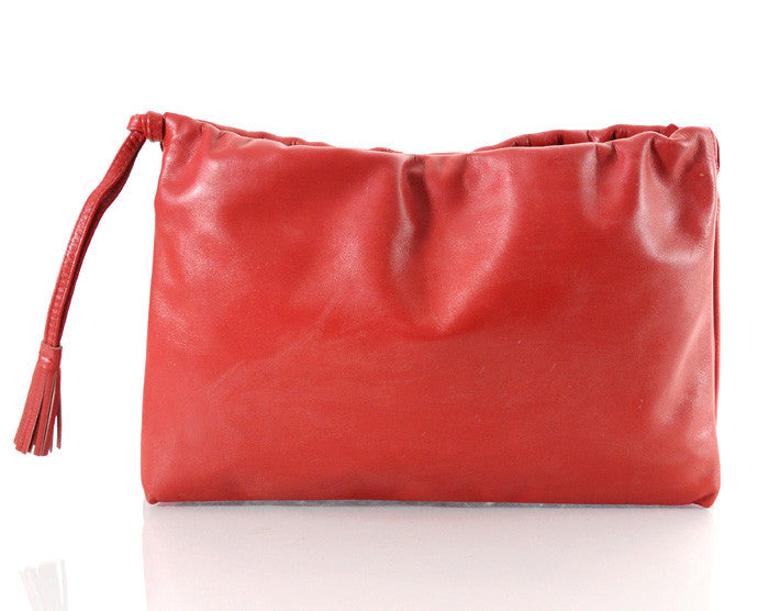 Huge Red Leather Tasseled Clutch Purse