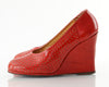 40's Cherry Red Patent Wedges 5.5