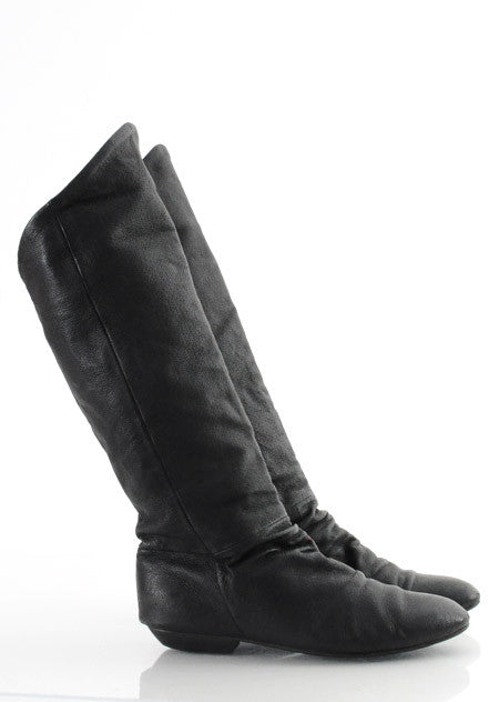 80s Black Leather Pirate Boots 8