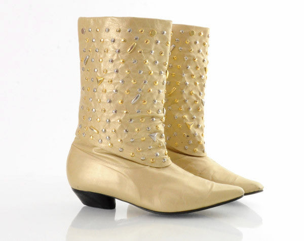 80s Studded Metallic Leather Ankle Boots