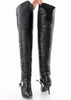 WILD PAIR 80s Leather Biker Thigh High Boots 6