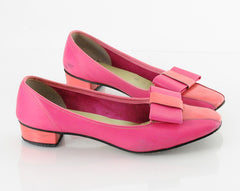 60s Mod Pink Leather BOW Heels 6.5