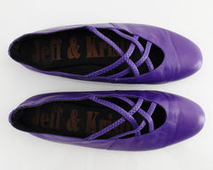 80s Strappy Purple Leather Ballet Flats 10