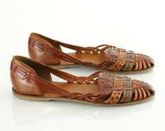 80s Woven Leather Huarache Flats Sandals 10