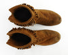 70s Fringe Leather Moccasin Ankle Boots 8