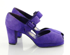 70s Royal Purple Suede Platform Heels 6.5