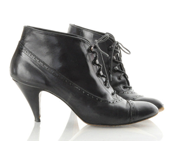 Black Leather Lace Up Ankle Boot Heels 7