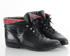 90s Plaid Flannel Cuff Lace Up Ankle Boots 7.5