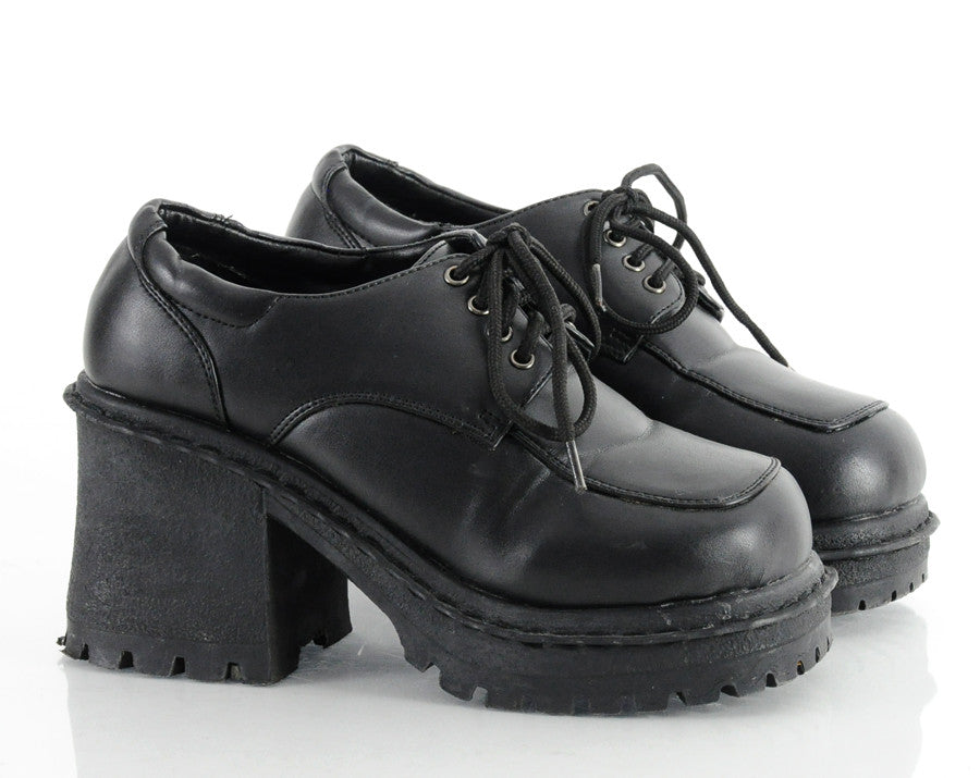 90s Lace Up Creeper Platform Shoes 6.5