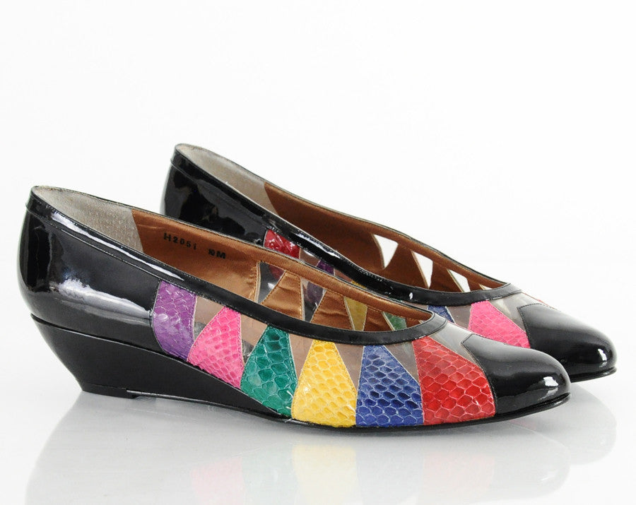 80s Rainbow Snakeskin Wedge Heels 9.5 10