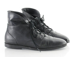 90s Leather Lace Up Cuffed Ankle Boots 9.5