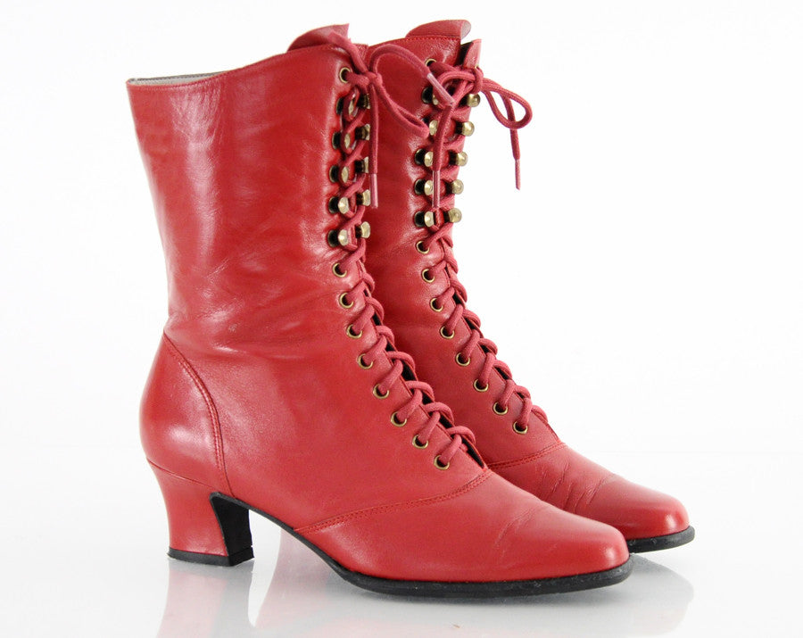 80s Red Leather Lace Up Ankle Boots 6.5