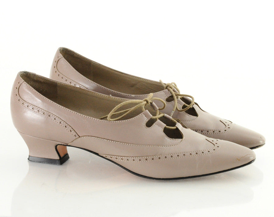 80s Lace Up Leather Wingtip Heels 7