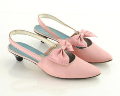 60s Pink Leather Bow Slingback Heels