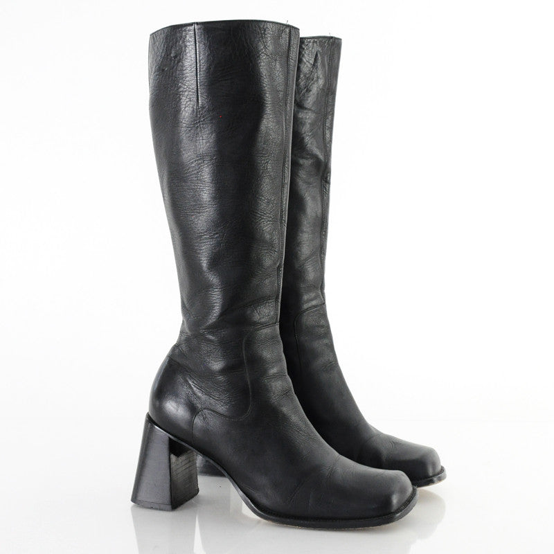 90s Chunky Leather Knee High Tall Boots 8