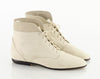 90s Cream Lace Up Cuffed Ankle Boots 9
