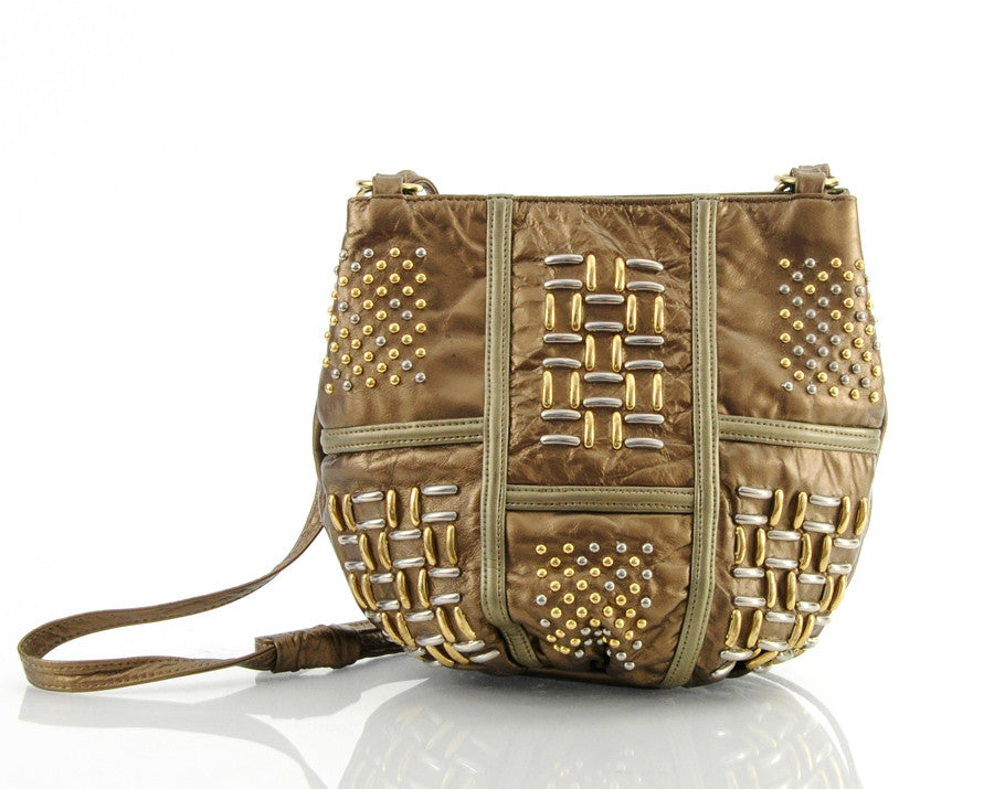 Studded Metallic Leather Bag