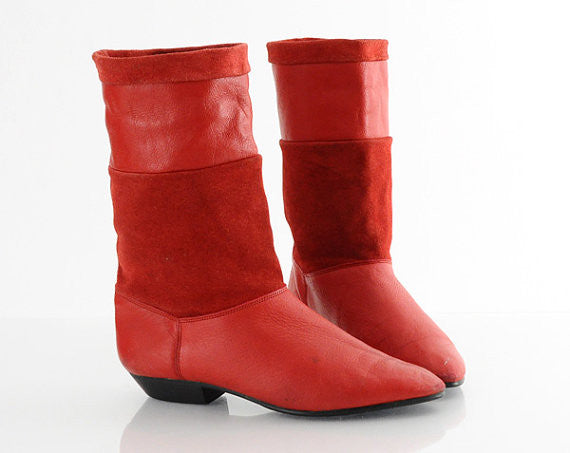 80s Red Leather Ankle Boots 7
