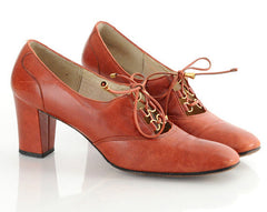 60s Mod Leather Lace Up Heels 10 Narrow