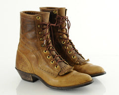 Vintage 90s Brown Leather Ankle Boots 8