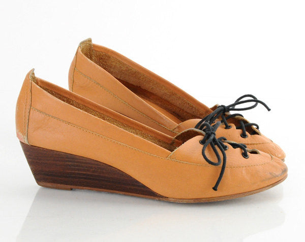 70s Leather Lace Up Wedges 7.5