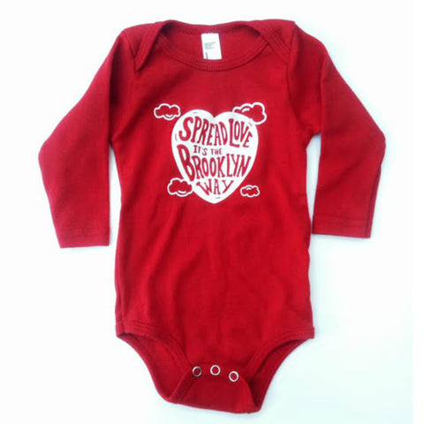 Spread Love Onesie - Red Long Sleeve