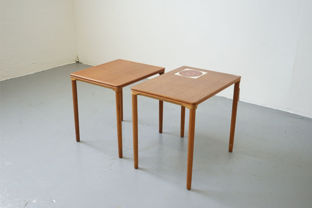 2 Mid-Century Nesting Tables Made With Teak & Tiled - (D374)