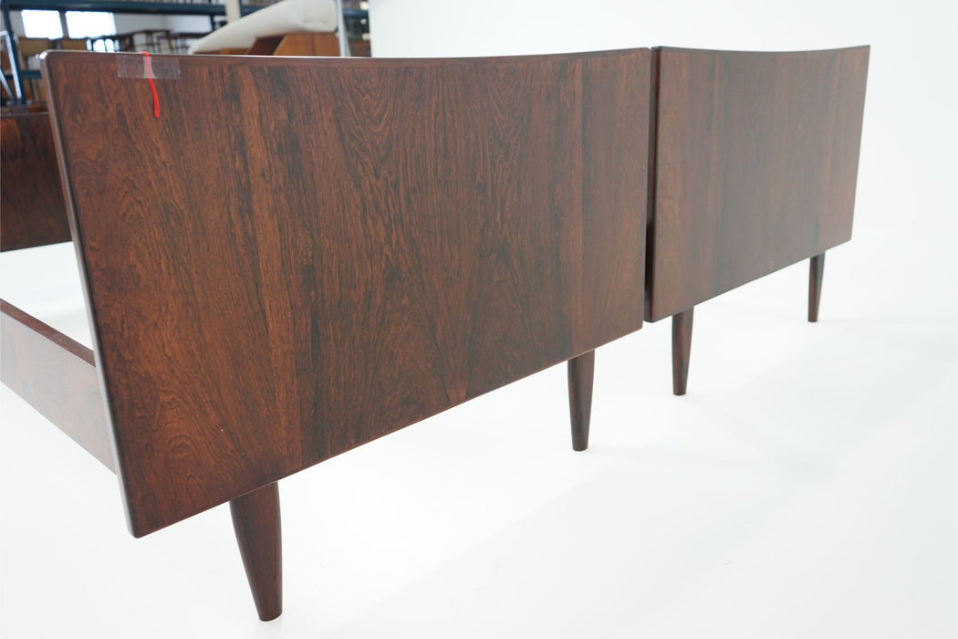 2 Danish Modern Single Rosewood Beds - (310-045)
