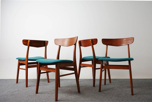 4 Scandinavian Teak & Beech Dining Chairs  - (318-162)