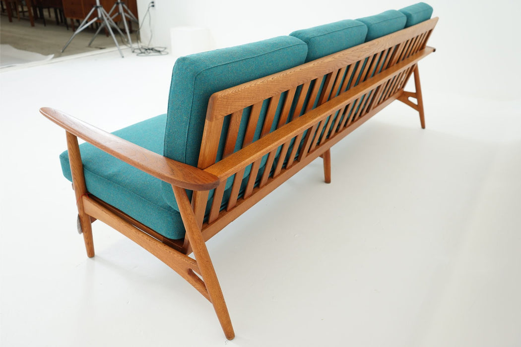 4 Seater Vintage Teak And Oak Sofa + Wool Cushions By Johannes Andersen - (D405)