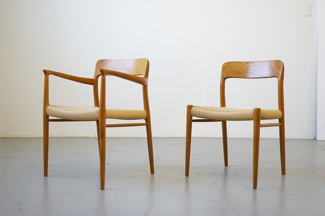 Set 6 Niels Moller Model 75 + 56 Oak & Paper Cord Dining Chairs  - (D627)