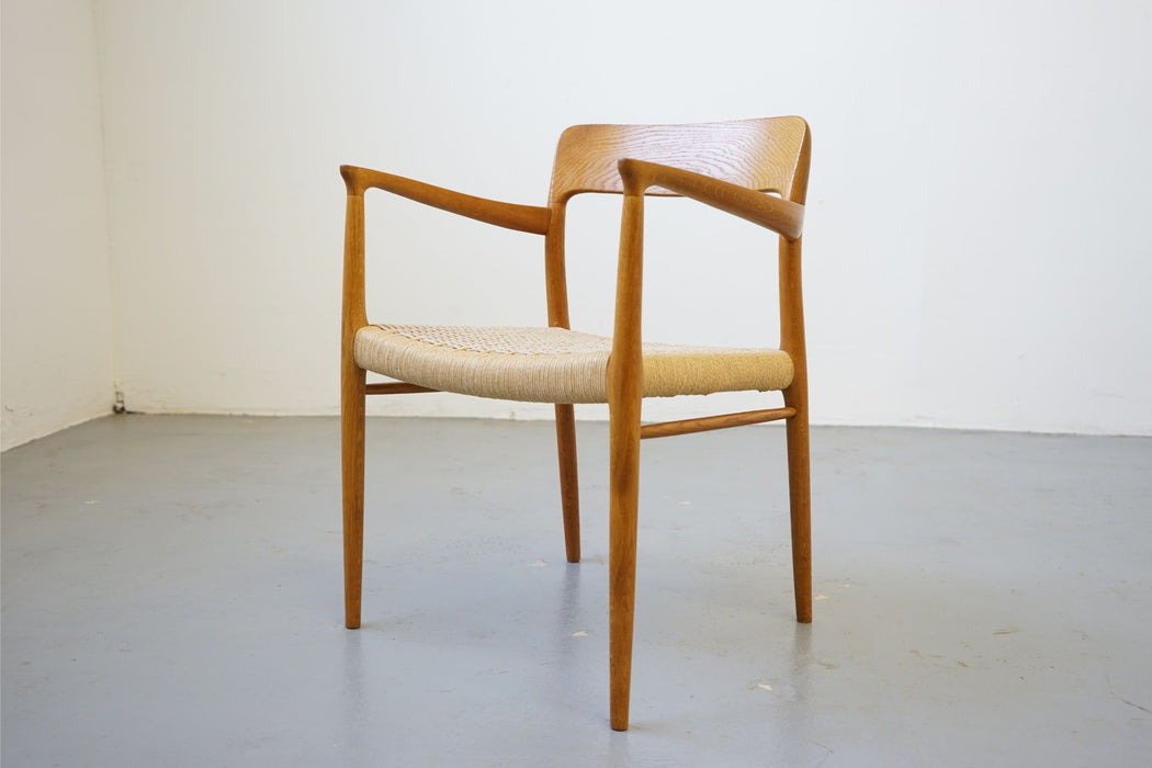 6 Niels Moller Model 75 + 56 Oak & Paper Cord Dining Chairs  - (D627)