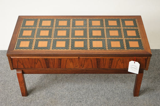 Scandinavian Rosewood and Tile Side Table - (316-054.2)