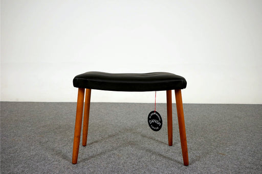 Danish Footstool Made With Beech & Vinyl - (316-203.11)