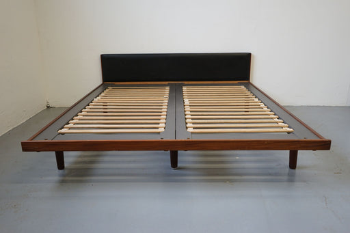 Danish Mid Century Bed Made With Teak & Vinyl By Hans Wegner - (315-044.1)