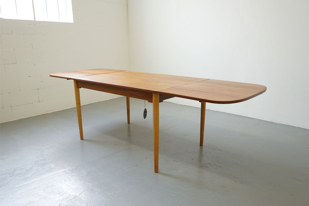 Danish Mid Century Dining Table Made With Teak & Beech - (313-039)