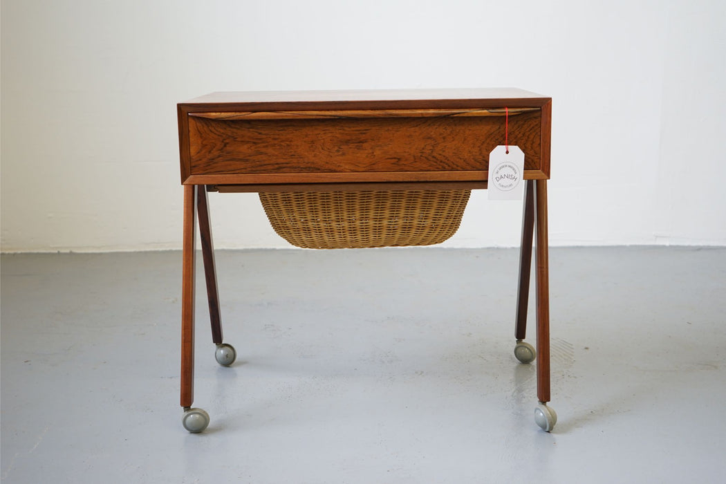 A Danish Mid Century Sewing table Made With Rosewood & Caned Basket - (312-220)