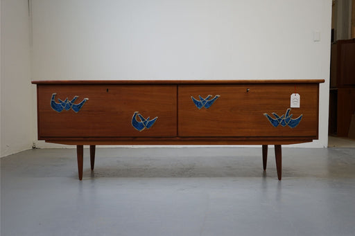 Danish Mid Century Teak Sideboard With Ceramic Decoration - (312-191)