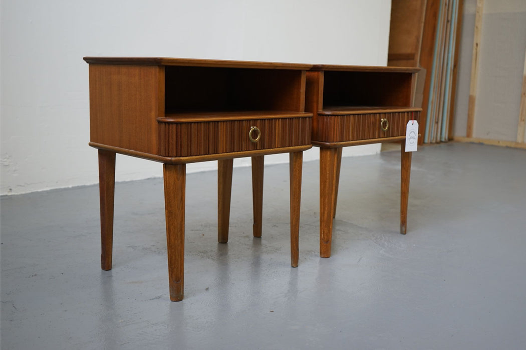 A pair of Danish Modern Bedside Tables Made With Mahogany - (311-178)