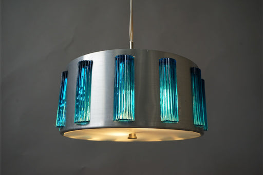 Danish Modern Ceiling Light With Aluminium & Glass - (D624)