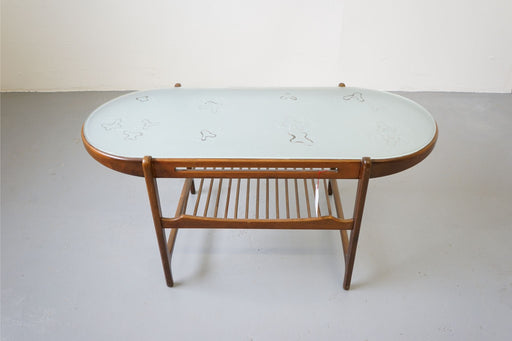 A Danish Modern Coffee Table Made With Walnut & Glass - (313-027)